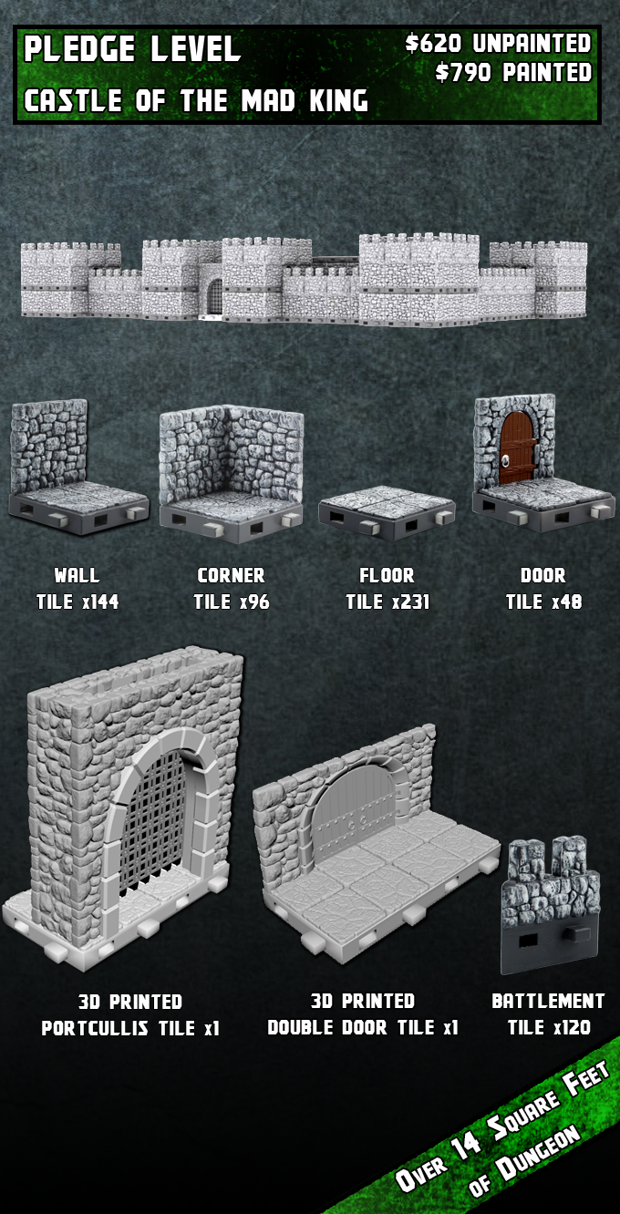 Digital image of layout. The individual pieces are factory painted prototypes other than the Portcullis piece and the double door piece which are digital images.