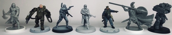 From left to right: Conan Hero (Monolith), Dust 1947 Hero (Dust Studios), Reichbusters Hero (Mythic Games), Reichbusters soldier (Mythic Games), Dust 1947 soldier (Dust Studios), Mythic Battles Hero (Monolith/Mythic Games), Warhammer 40,000 Primaris (Games Workshop)