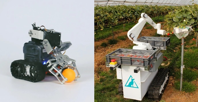 MoonMech (left) and the strawberry picking robot used in a modern farm