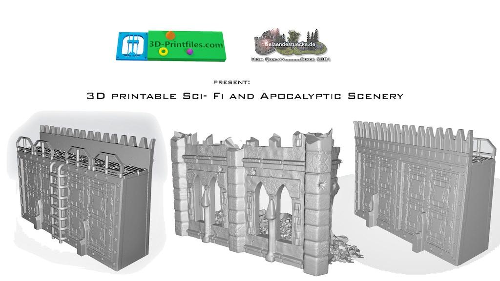 3D printable Sci- Fi and Apocalyptic Scenery -OpenLOCK