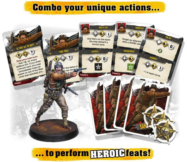 Sarge's feats, sample action cards and heroic tokens