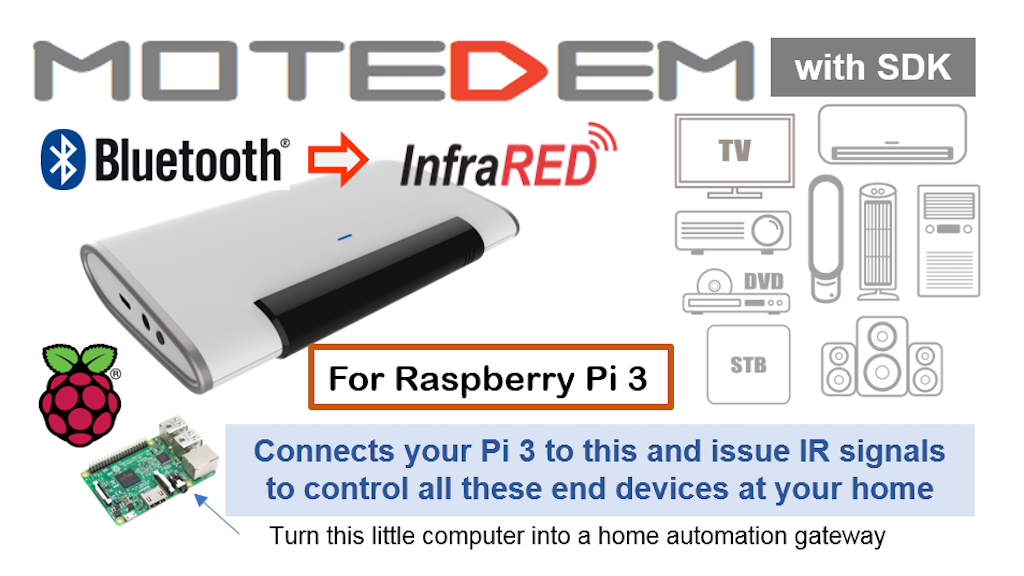 MOTEDEM Infrared blaster with SDK for Raspberry PI 3 project video thumbnail