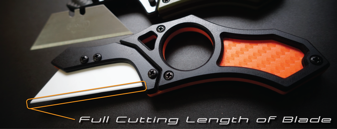 Most other utility knives only expose a small fraction of the total blade length.