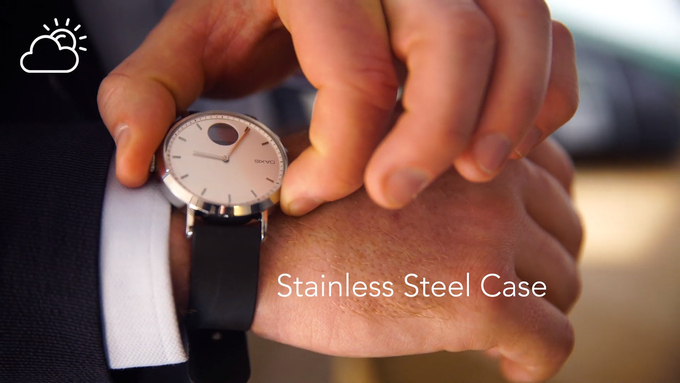 Constructed with stainless steel and enclosed with a clam shell design, the Timepiece is built for durability