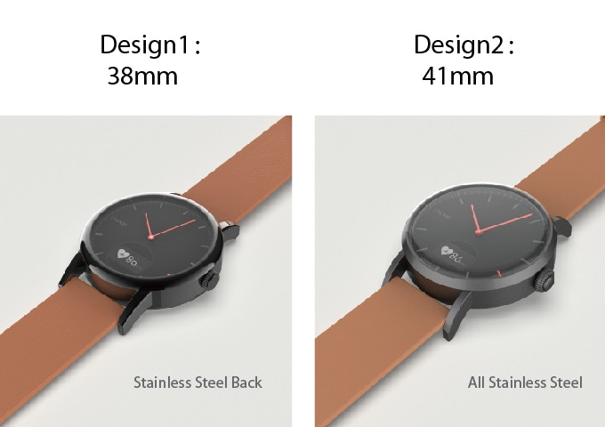 The 38mm is constructed with an Alloy front face with a stainless steel back plate while the 41mm watch is constructed with a full stainless steel case