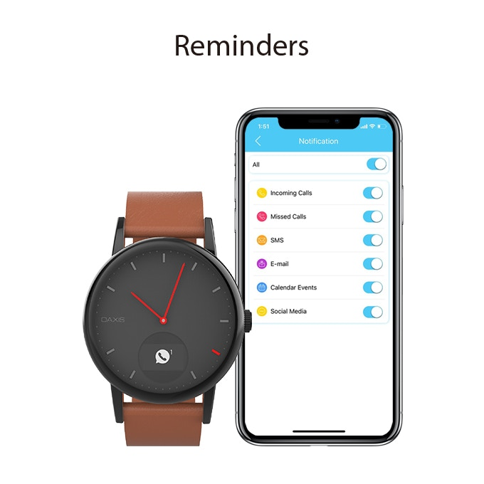 Select up to 6 types of notifications to display on your Timepiece