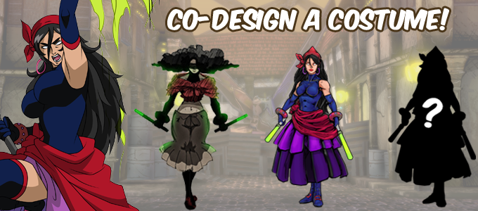 Design 1 alternate costume for any of the characters and name it after you!