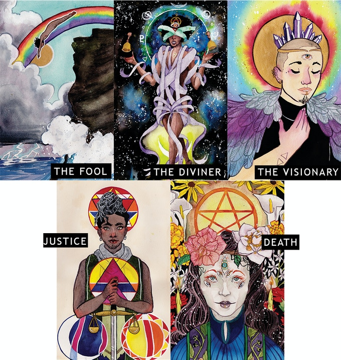 Print set comes with art for The Fool, The Diviner, The Visionary, Justice, and Death.