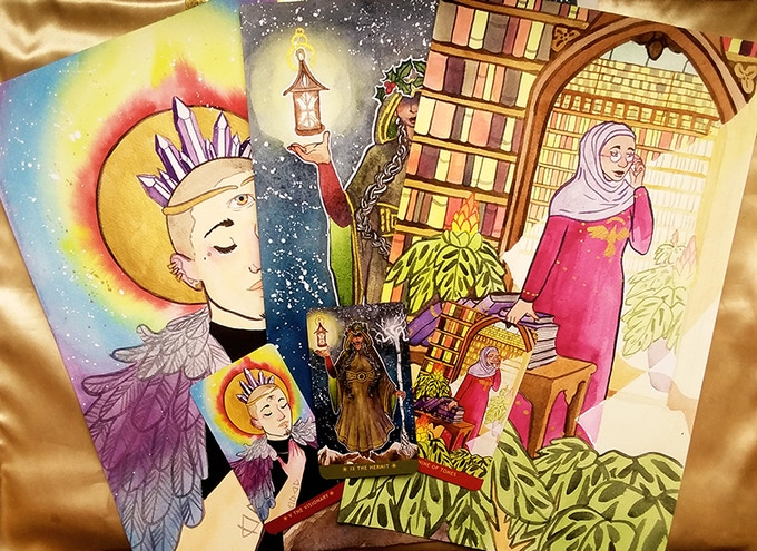 Examples of original paintings: The Visionary, The Hermit, Nine of Tomes.