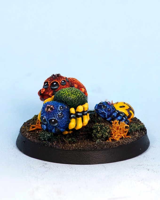 2 Spiders and Small Spider (40mm round base)