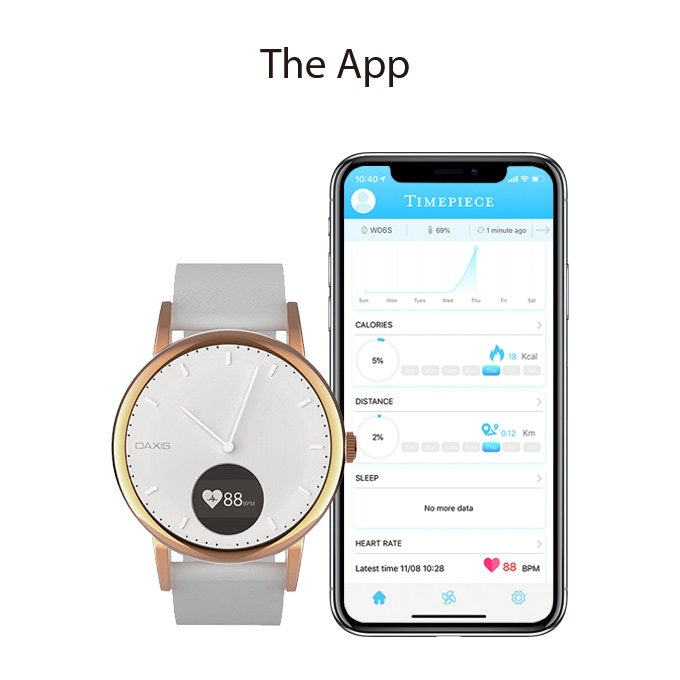 The Timepiece App allows you to have a better insights of your sleep habits, heart rate, steps and calories burnt. You can even adjust specific notifications that can appear on the Timepiece