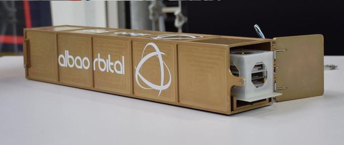 The Mini-Cube prototype in the AlbaOrbital launcher pod.