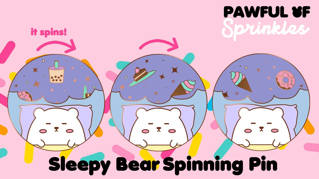 Sleepy Bear Spinning Enamel Pin - an adorable quickstarter!
