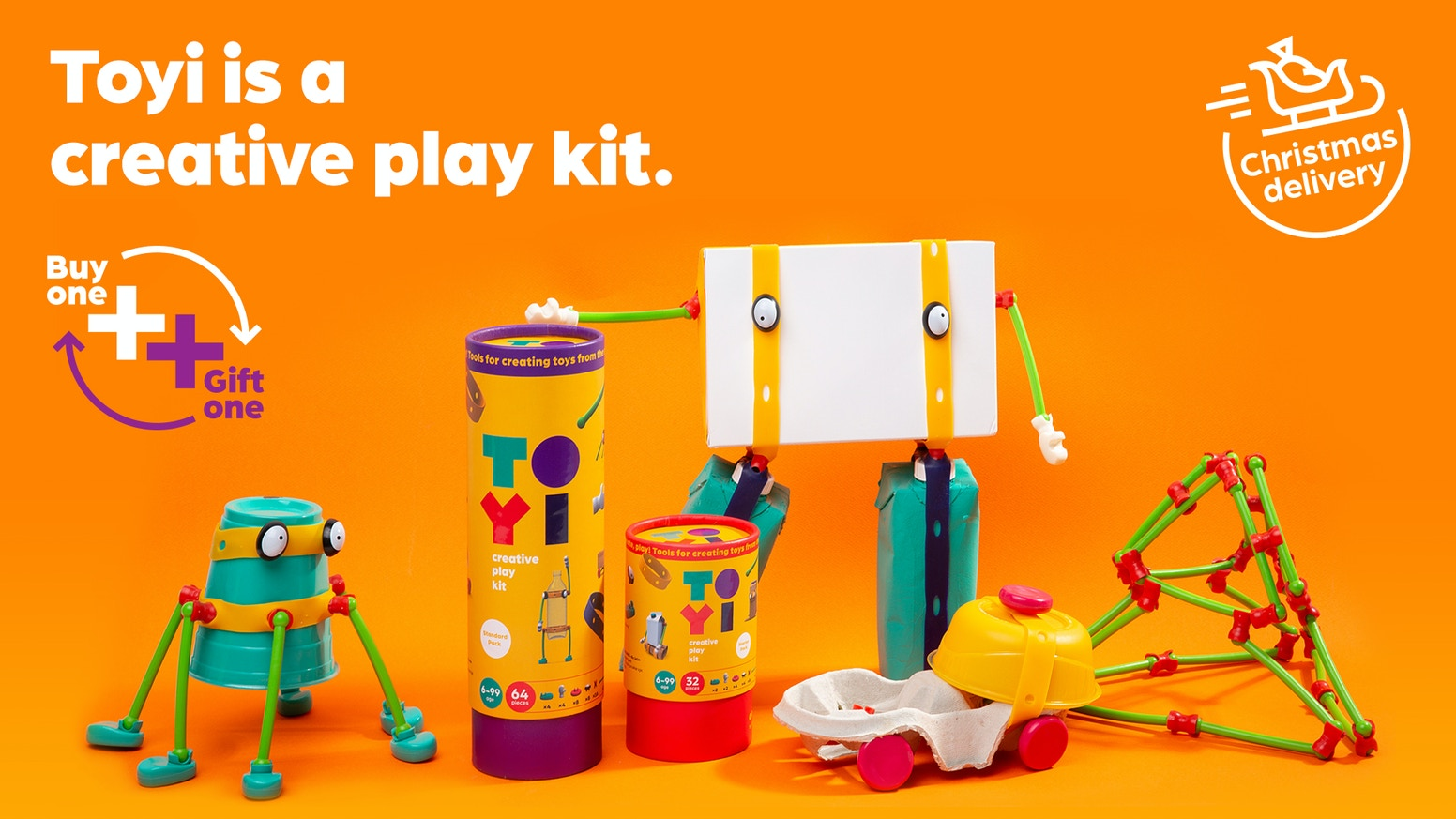 Toyi is a limitless creative play kit without instructions that enables children to transform everything around them into unique toys.