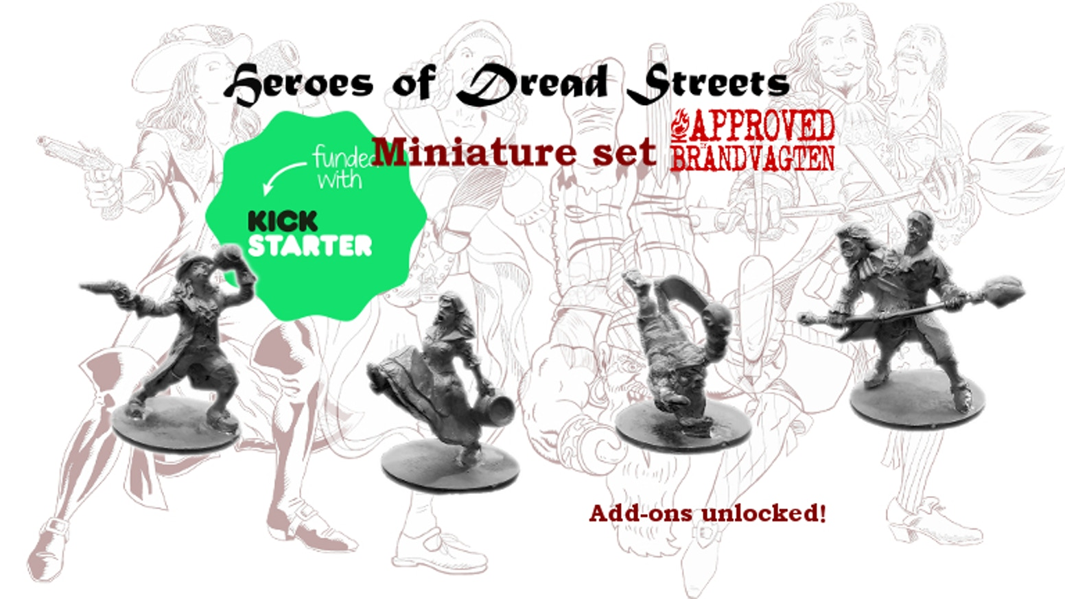 A set of 4 swashbuckler heroes, for tabletop gamers and collectors of garishly clad miniatures!