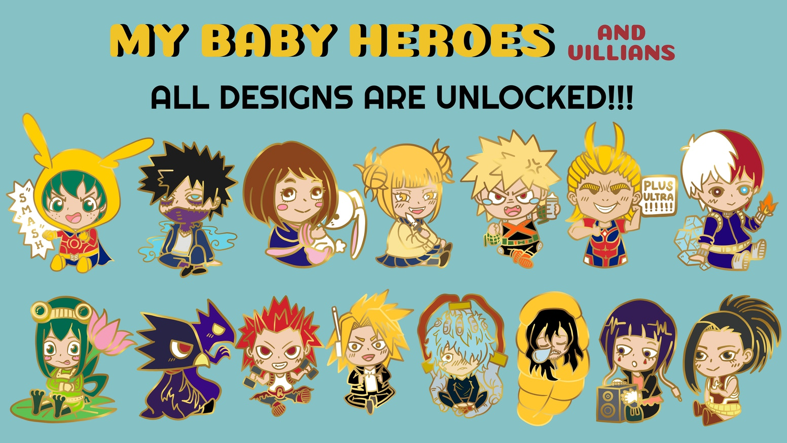 A set of hard enamel pin designs inspired from an anime called boku no hero