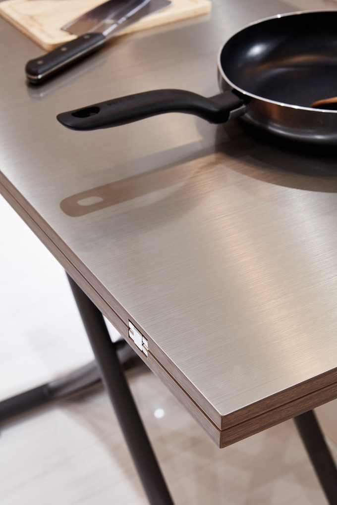 Level Three - X Table 2.0 - Grey Option - Stainless Steel Top, Dark Wood Table, and Sandblasted Grey Legs - Folded