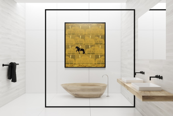 Gold Standard Edition - The Golden Knight by Gustav Klimt - design presented in a simulated environment.