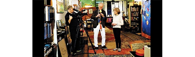 Legendary jazz composer and musician David Amram, playing an ancient Chinese flute, performed for co-producer Astrid Myers Rosset