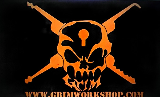 Commemorative coated Special Edition Grim Workshop sticker, for all tins