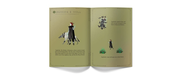 The game handbook will be filled with art  & information on the characters, enemies and worlds of Freja and the False Prophecy.