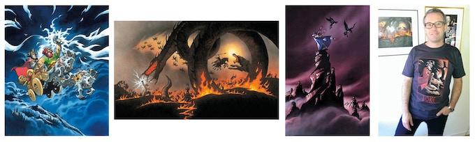 """Giclée-tryck av """"Ulven är lös"""", """"Ragnarök"""" och """"Oden med Hugin & Munun"""", alla signerade av Peter Madsen, samt T-shirt med Loke-motiv (klicka på bilden för att komma till statusuppdateringen med mer info)."""
