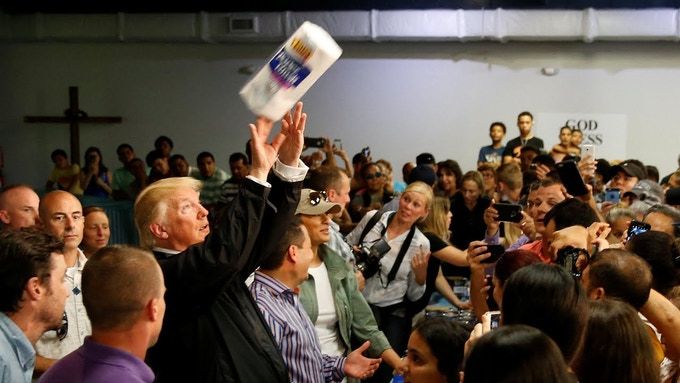 President Trump chose to toss paper towels to citizens in Puerto Rico who had just lost loved ones, power, and their homes to a hurricane, flooding, and devastation