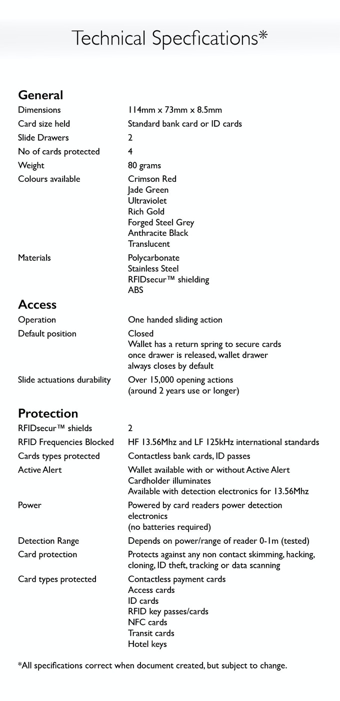 Technical specification sheet
