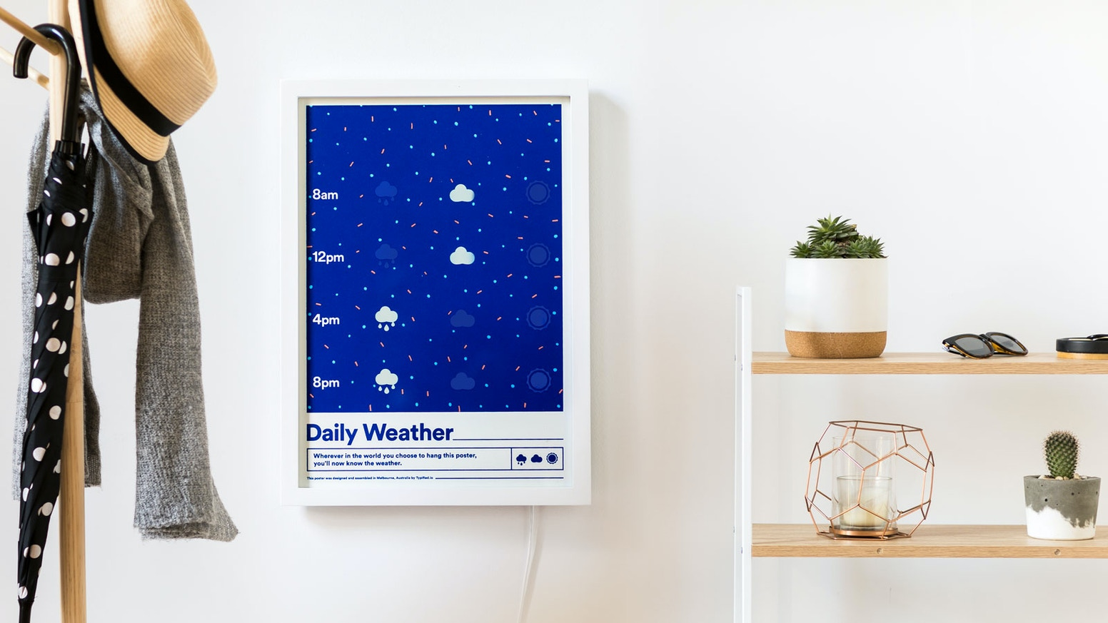Never forget to check the weather again. This screen printed poster uses smart ink & the internet to always reflect the day's forecast.