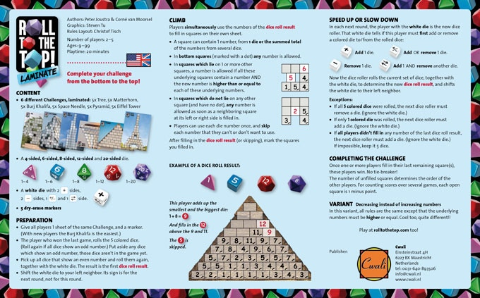 Rules in the game box are English+German+French+Dutch.