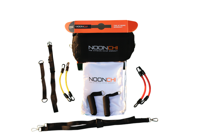 The Noonchi comes in a complete 10 pc set. Package contents: Noonchi chair attachment, 4 resistance bands, 2 handles, Noonchi chair ancor, y-strap, chair strap and optional Noonchi carry sack.