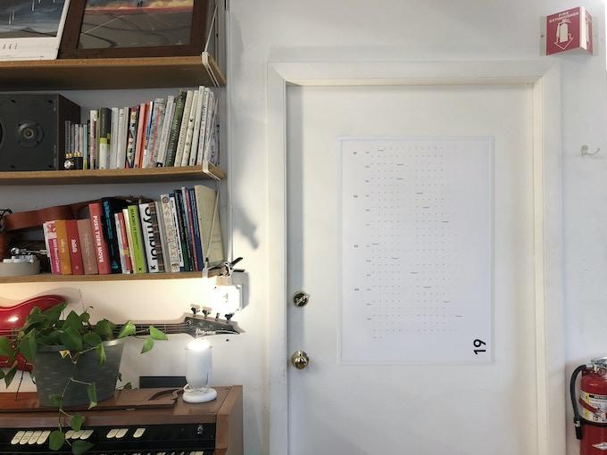 Test print hanging on the door to my studio