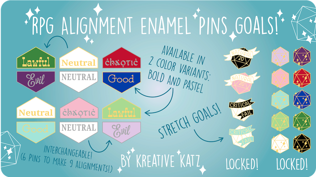 Project image for RPG Alignment Enamel Pins (Canceled)