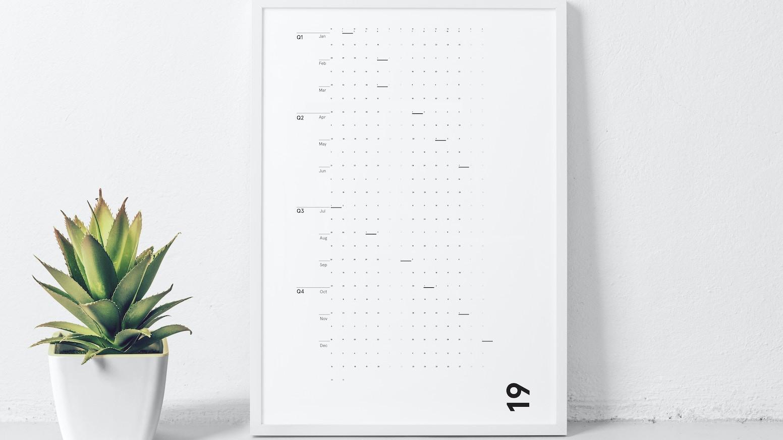 A wall calendar that will make 2019 feel like a breath of fresh air.