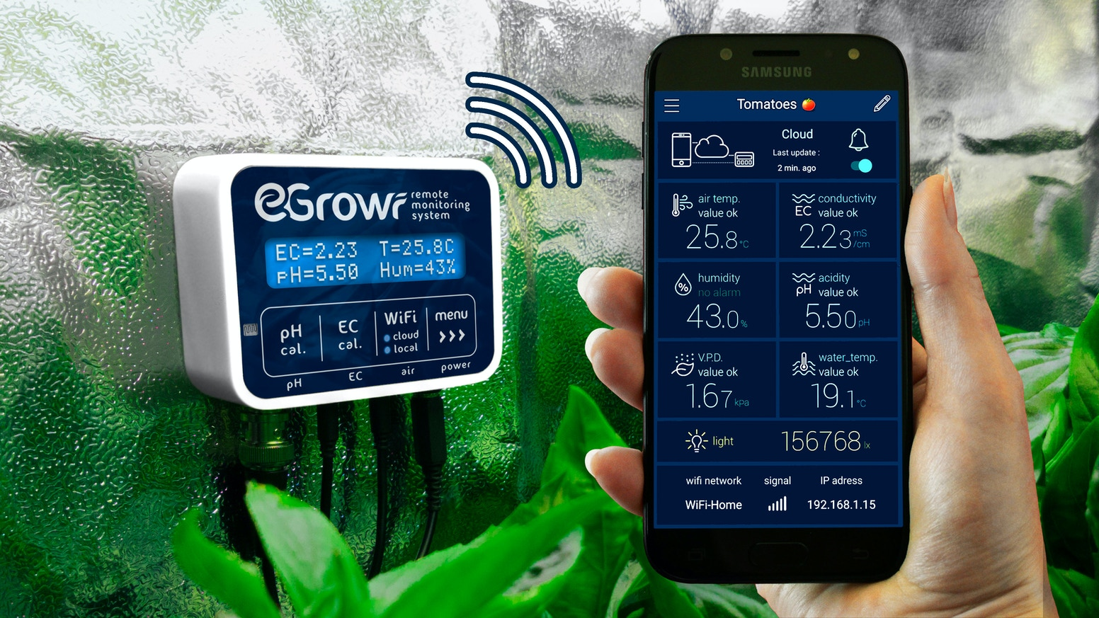 Your plants' pH, conductivity and climate on your smartphone. Realtime data, push notifications, and graphs with you anytime, anywhere.