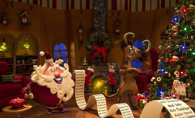 Santa and Krampus review the nice list at the North Pole in this sample image from Merry Christmas, Krampus.