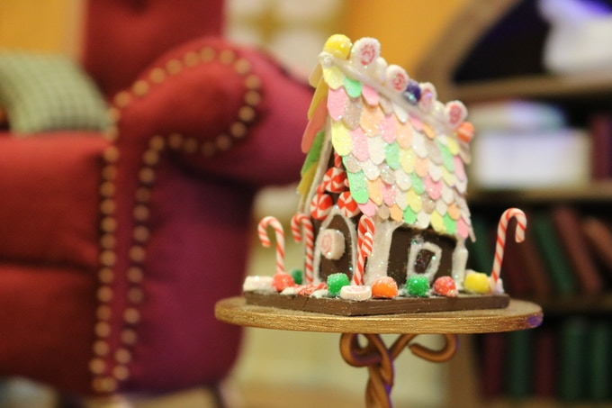 Miniature handmade gingerbread house prop from Merry Christmas, Krampus.