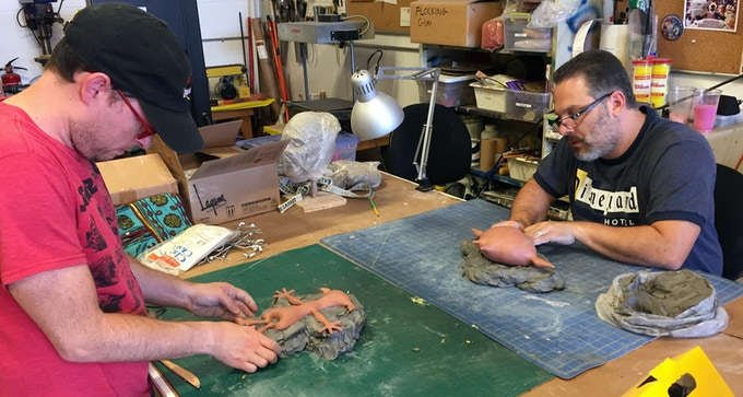 Sean Johnson and Artie Esposito make molds for the Krampus and Santa puppets for Merry Christmas, Krampus.