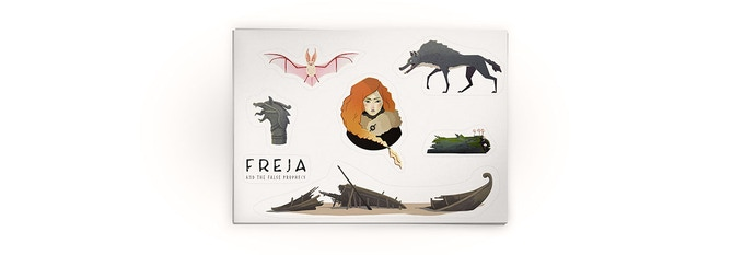 A4 sticker sheet of Freja and other things.