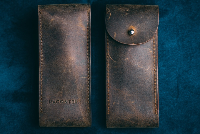Handmade pull-up leather watch pouch