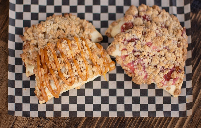 """""""Crumptious"""" Handpies - double crust, double filling with crumb topping"""