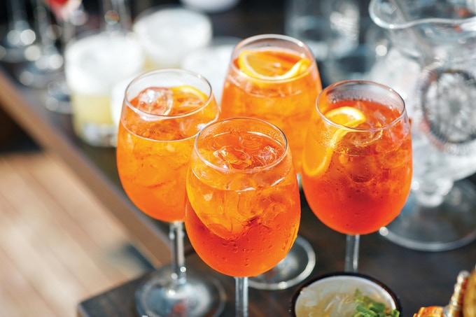 Aperol Spritz.  The signature drink of an Italian aperitivo