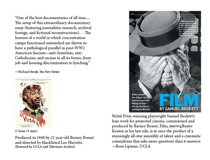 """Click on the image for reviews of these two classic films: Barney Rosset's 1951 ferocious award-winning anti-Jim Crow era """"Strange Victory"""" and his 1964 teamed-with-Beckett-and-Keaton legendary """"FILM"""", both now re-mastered by Milestone Films"""