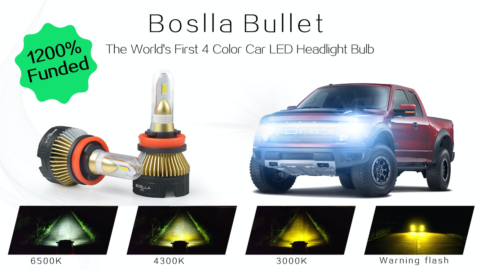 Boslla - The World's First Four-Color Car LED Headlight Bulb