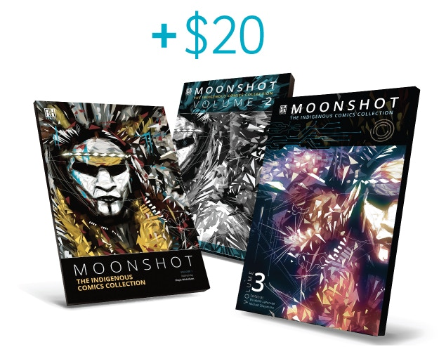 Add $20 to a pledge that already includes a book to receive another copy of your choice of softcover book - MOONSHOT Volume 1, 2 or 3!
