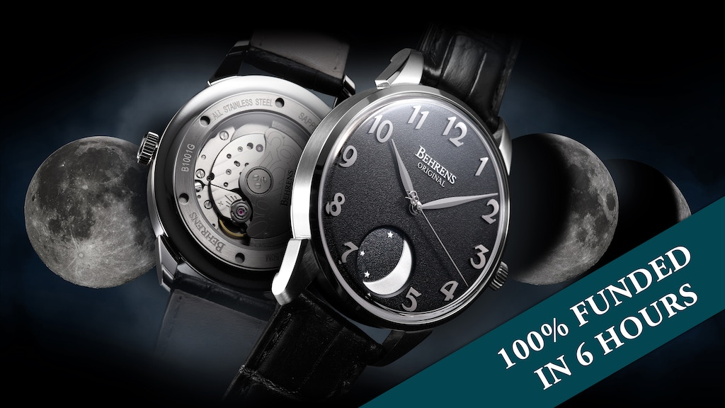 MOON PHASE automatic mechanical watch - by BEHRENS ORIGINAL