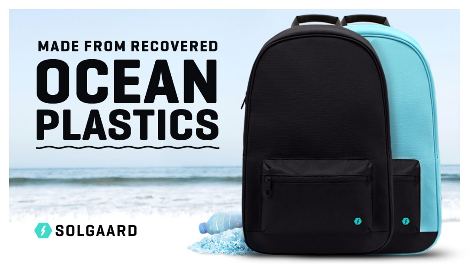 A backpack made from recycled plastic recovered from the ocean. Designed for everyday carry, including laptop and other tech gear.