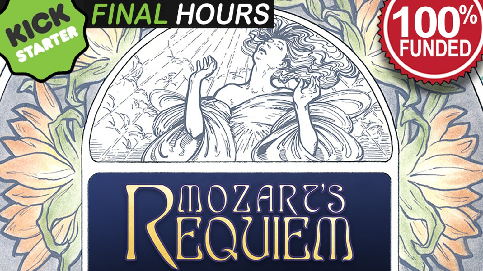 An Art Nouveau inspired 60-page book with full-page illustrations, lyrics in Latin and English, and a brief history on Mozart's Requiem
