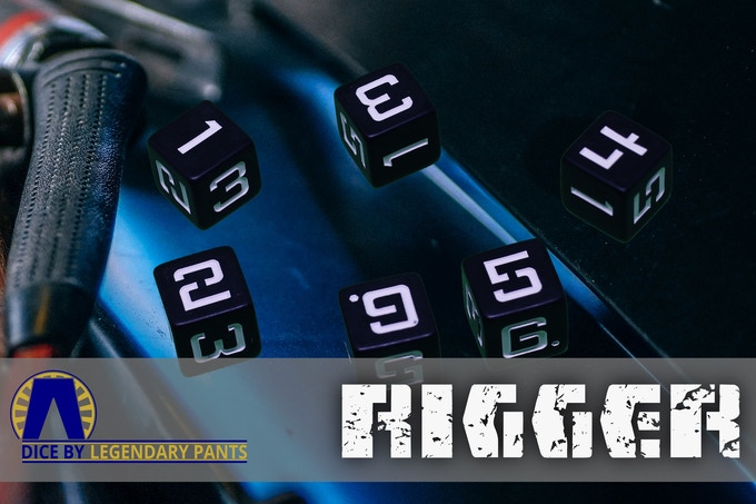 Some folks just prefer to build it themselves, even if it blows up on the bench. We call them riggers, and we like to stay behind them. Black matte dice with white numbers.