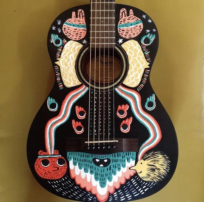 Fuzzytown Cosmic hand-painted guitar